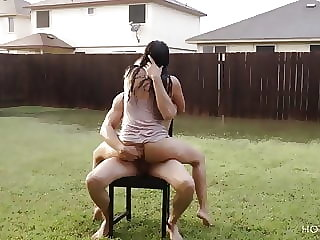 brunette amateur Romantic sex under the rain in Texas